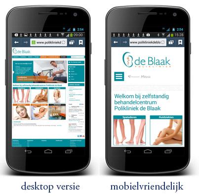 mobielvriendelijke website polikliniek de Blaak